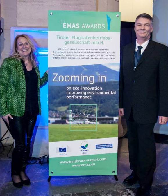 Airport Innsbruck Environmental Manager Christine Lindenberger and CSR Company managing Partner Christian Katholnigg at the EMAS ceremony in Hanover, Germany