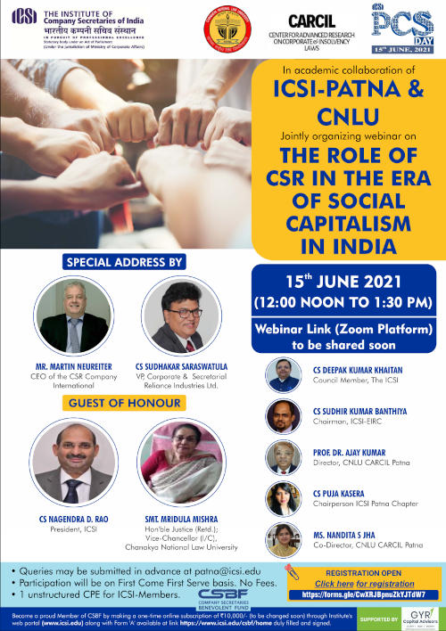 WEBINAR - The Role of CSR in the Era of Social Capitalism in India - Brochure
