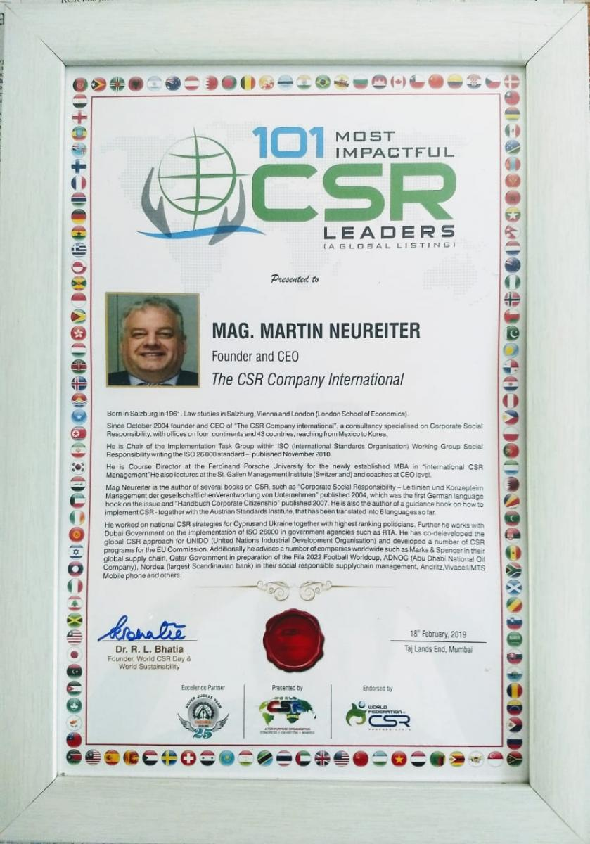 Mag. Martin Neureiter - 101 Most Impactfull CSR Leaders